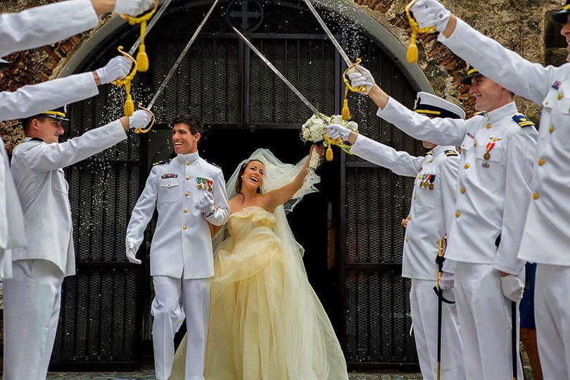 Military escort at Del Cristo Chapel in Old San Juan, Puerto Rico