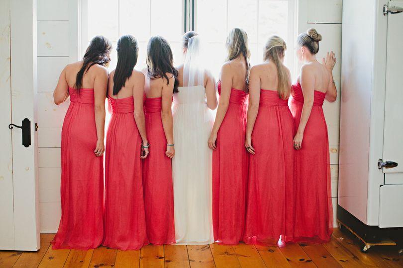 Bride with wedding attendants