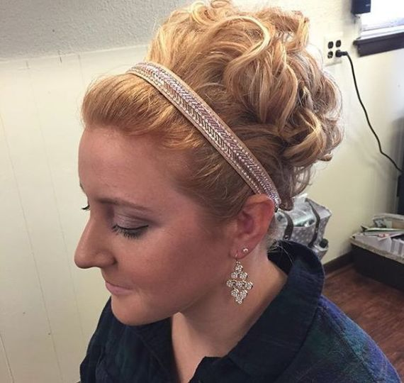 Curled updo with sparkling band