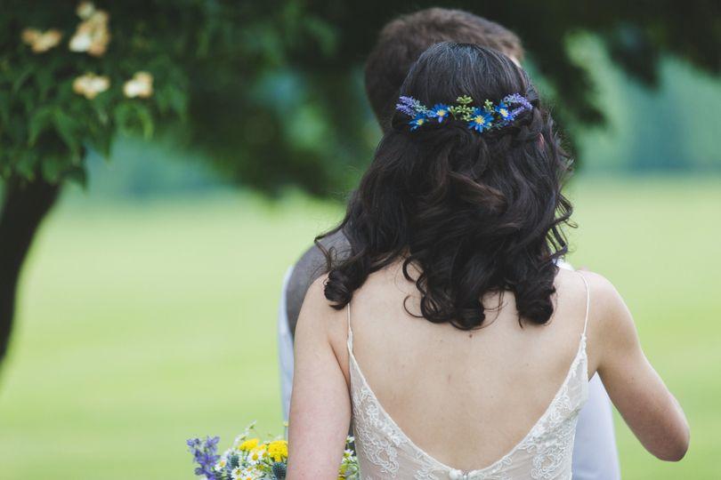 Loose curls and flower crown
