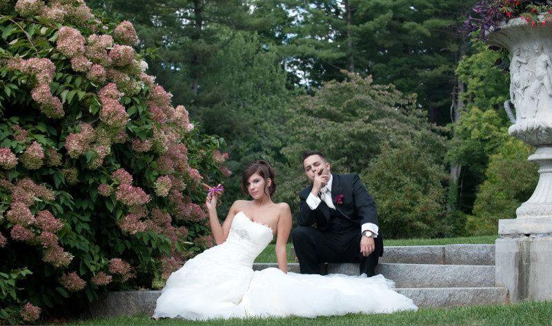 bride groom smoking