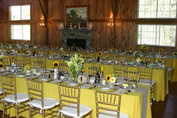 A September wedding in the Lakes Region of NH with custom tablecovers and napkins by divine...