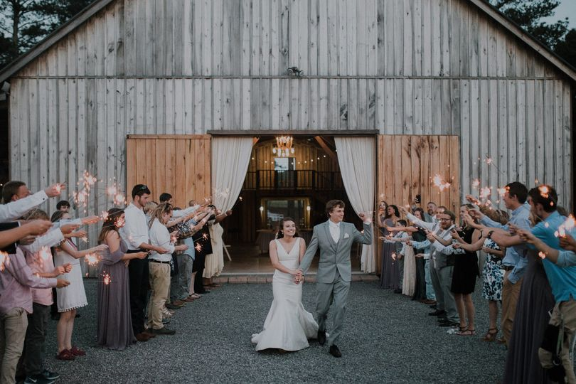 A sparkler exit from the barn