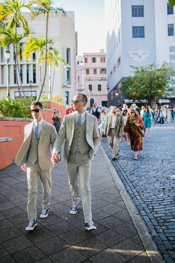 mike and mark walking in old san juan