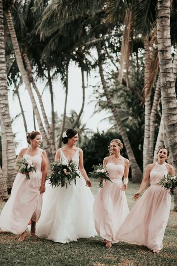 With the bridesmaids