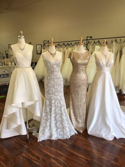 Four wedding dresses