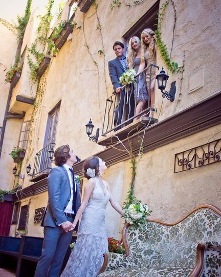 styled shoot courtyard looking up