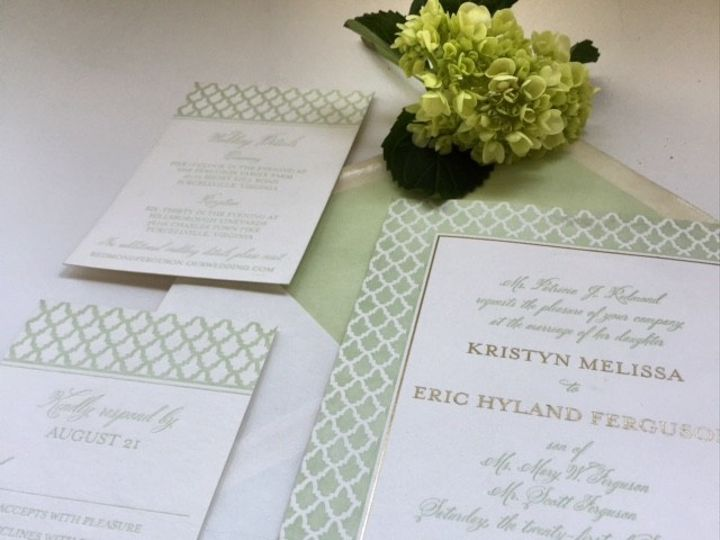 Tmx 1461860047605 Mint And Gold McLean, District Of Columbia wedding invitation