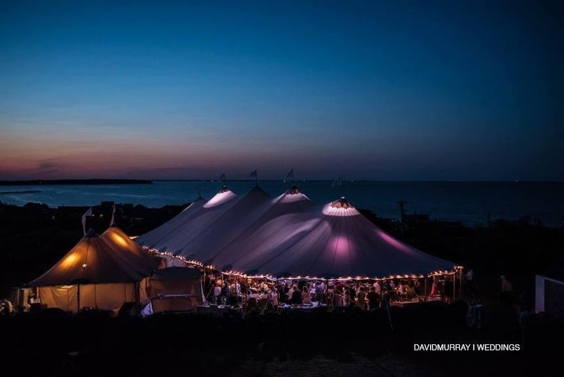 Huge tent at night