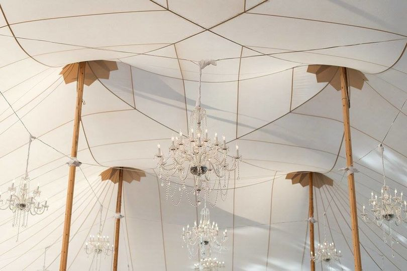 Chandeliers inside a Sperry tent