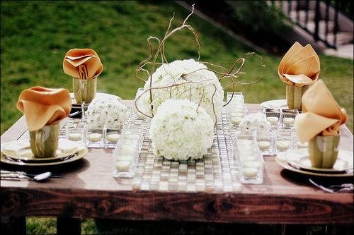 This outdoor setting is perfect for the casual bride. Flower balls intwined with twigs, placed on a...