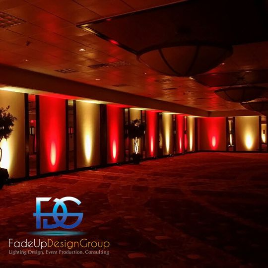 Red and yellow reception uplights