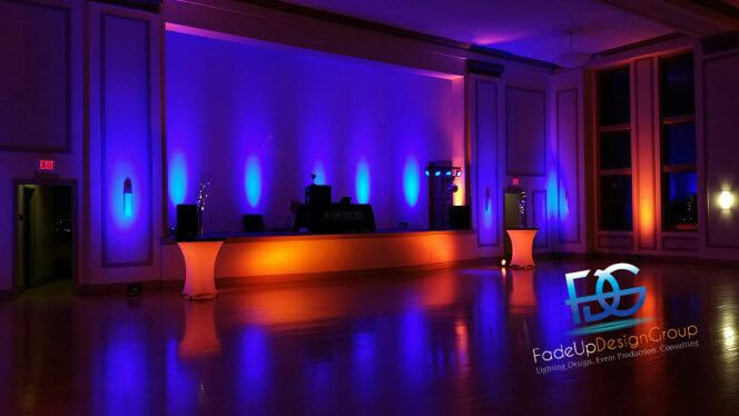 Blue reception lighting and orange table lights