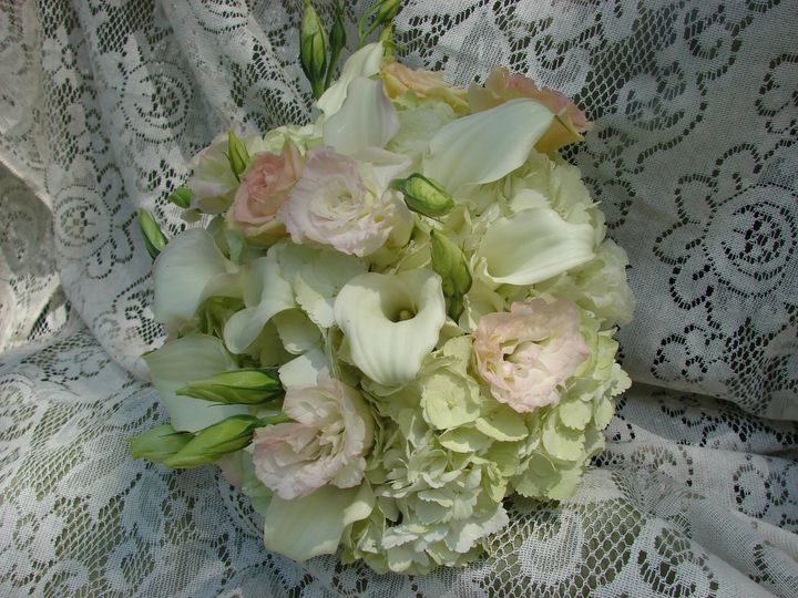 Tmx 1360271675606 Whitehydrangeaminicallaliliessoftpinklisianthus North Falmouth wedding florist