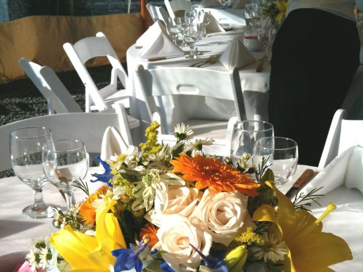 Tmx 1360273315690 YELLOWBLUEBASKETCENTERPIECE North Falmouth wedding florist
