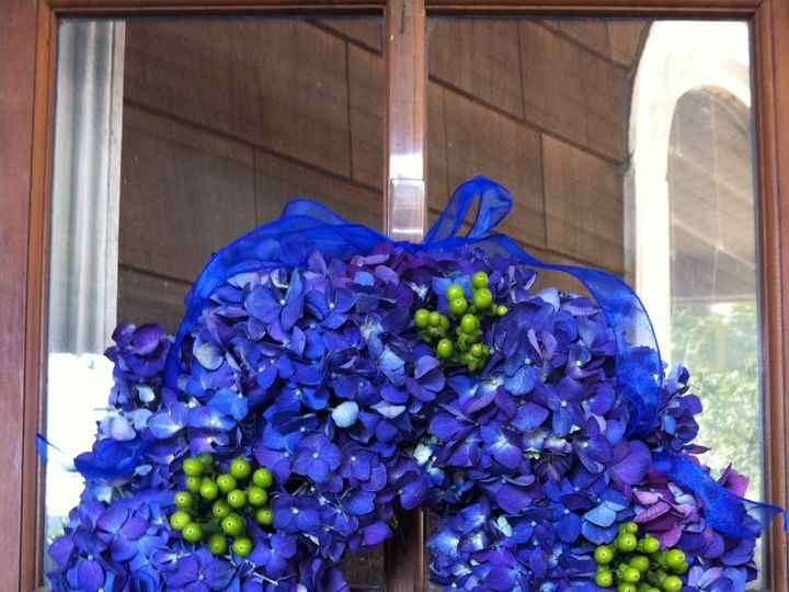 Tmx 1360273551167 DarkBlueHydrangeawreathgrberries North Falmouth wedding florist