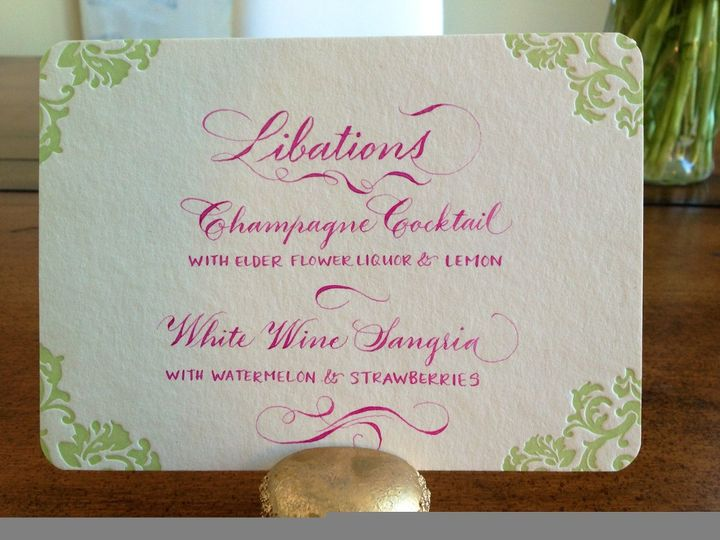 Block and Copperplate script in Magenta ink Menu