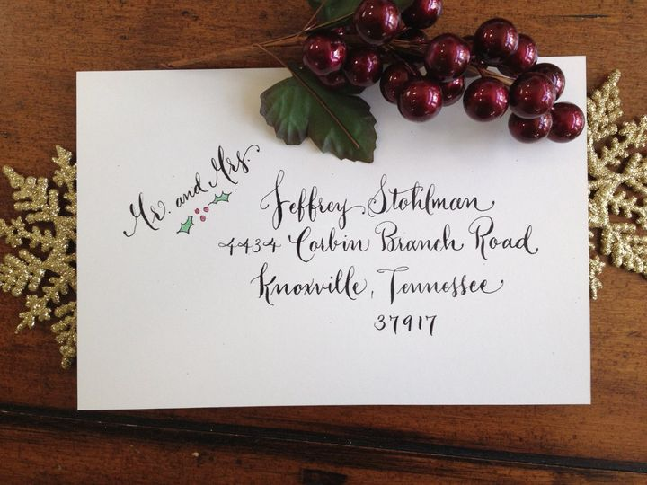 Holiday cards done in Whimsy script