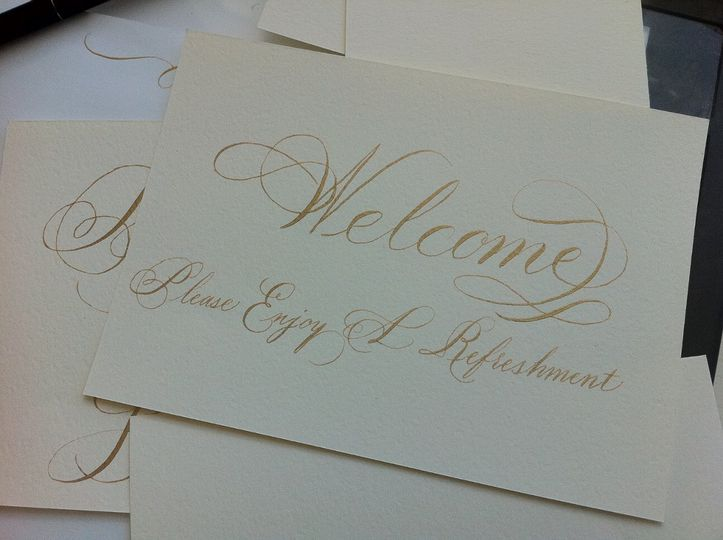 Bickham script signage in Gold ink