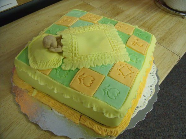 Baby Christening Cake. Covered with fondant