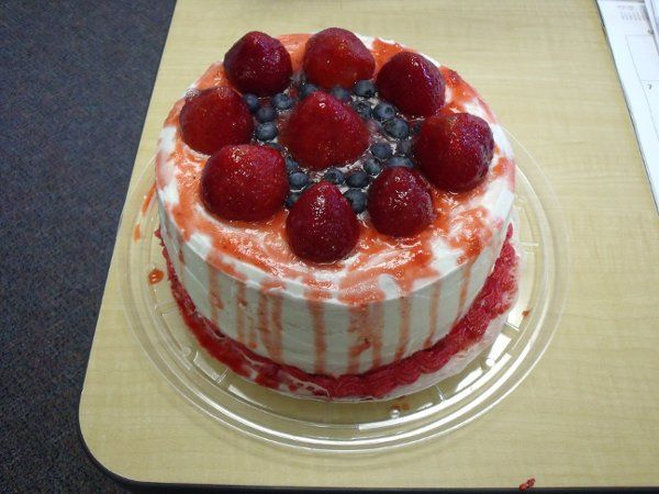 Strawberry Short Cake. Covered with butter cream.