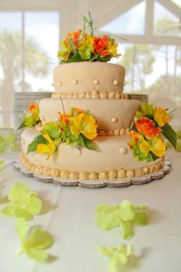 Wedding Cake with a tropical theme.