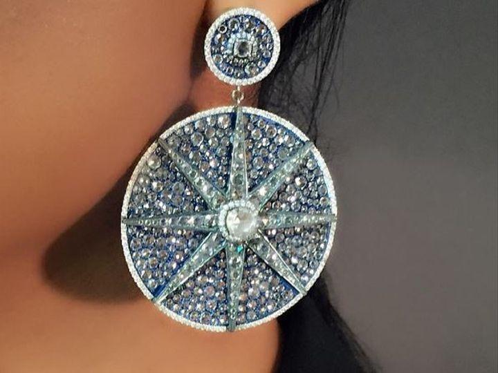 Tmx 1514909423602 Blue Disc Earring West Bloomfield wedding jewelry