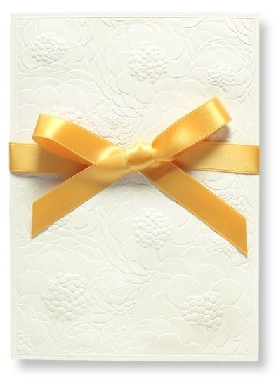 Embossed Zinnia & Saffron Ribbon Personalized Wedding Folder Invitation {this style is also...