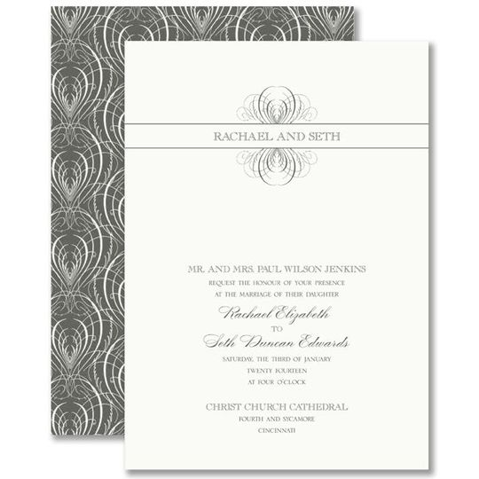 Vera Wang Charcoal Calligraphic Feather Wedding Invitations 79-95117