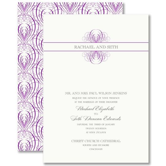 Vera Wang Raspberry Calligraphic Feather Wedding Invitations 79-95131