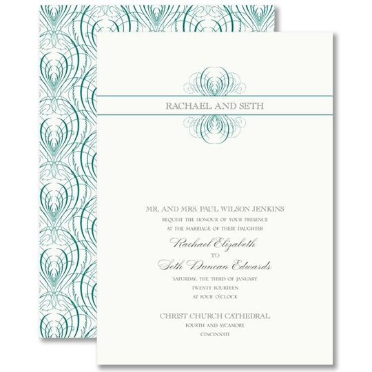 Vera Wang Teal Calligraphic Feather Wedding Invitations 79-95124