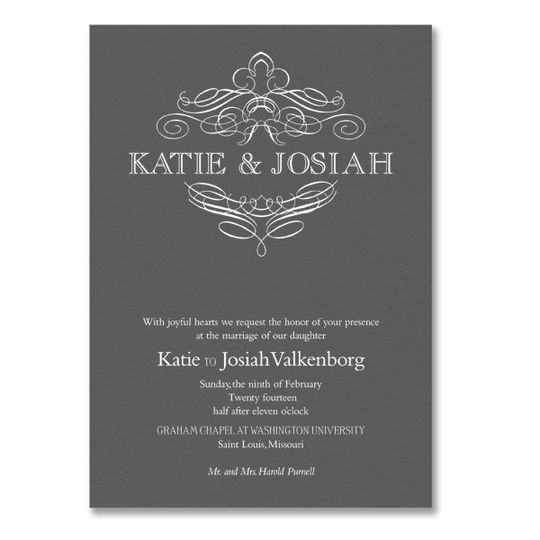 Vera Wang Engraved Calligraphic Crest Pewter Wedding Invitations 85-86087