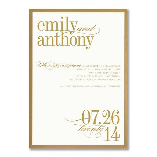 Vera Wang Gold Bordered Oyster White Wedding Invitations 85-85632