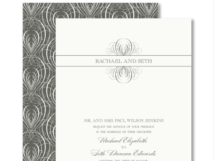 Tmx 1326567939445 VeraWangCharcoalCalligraphicFeatherWeddingInvitations7995117 West Kennebunk wedding invitation