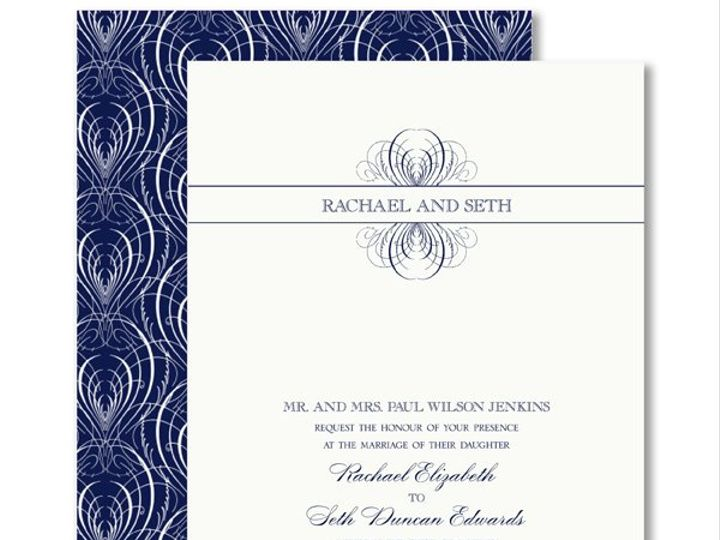 Tmx 1326567944929 VeraWangIndigoCalligraphicFeatherWeddingInvitations7995138 West Kennebunk wedding invitation