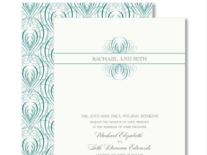 Tmx 1326567955596 VeraWangTealCalligraphicFeatherWeddingInvitations7995124 West Kennebunk wedding invitation