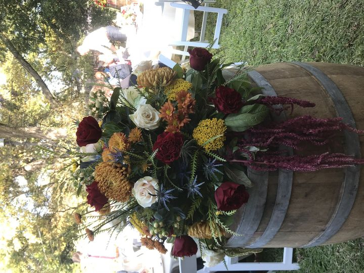 Wine barrel décor for backyard wedding Stephenville wedding