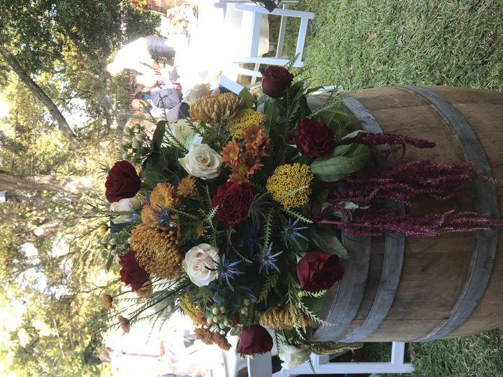 Wine barrel décor for backyard wedding Stephenville wedding