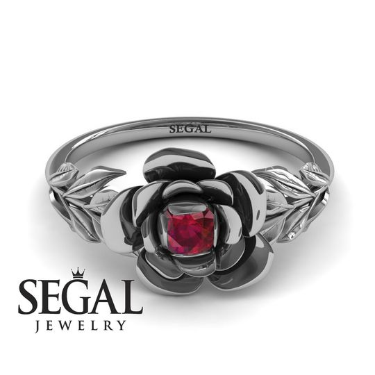 Flower Engagement Ring with Ruby