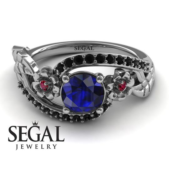 Flowers and leafs Engagement Ring with Black diamonds Blue Sapphrie and Red Ruby