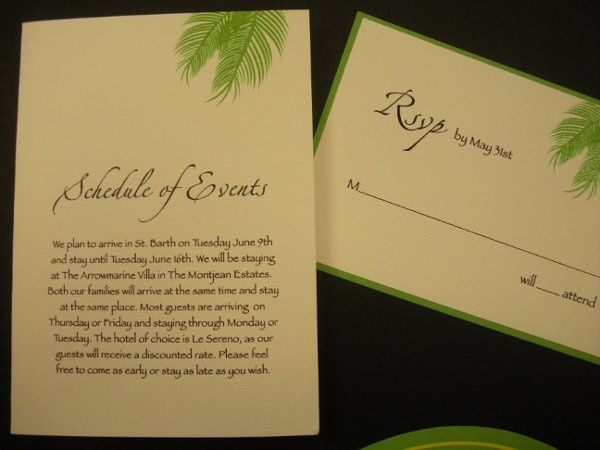 Green detailed tropical wedding invite