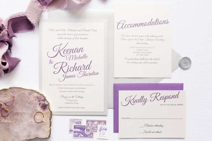 Purple themed invite