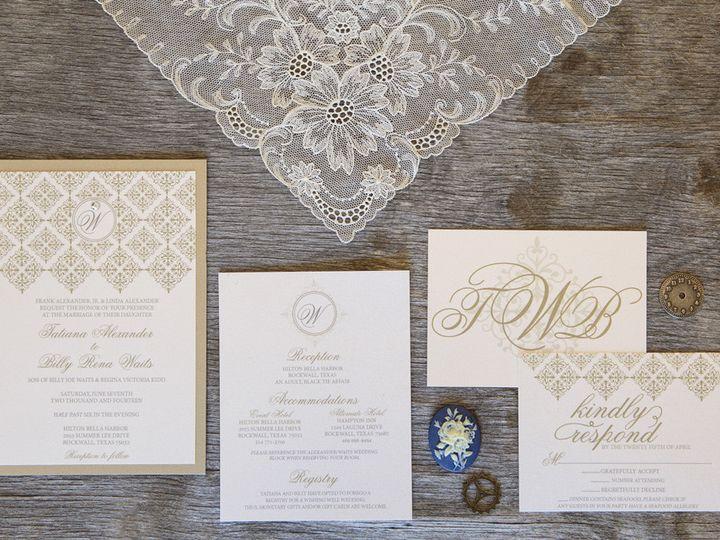 Tmx 1399044995573 Thebeeskneesstationary 001 Dallas, Texas wedding invitation