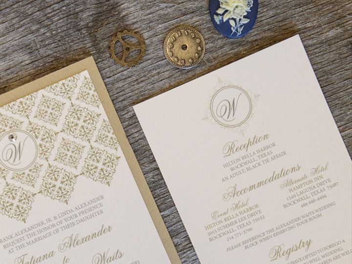 Tmx 1399045006934 Thebeeskneesstationary 001 Dallas, Texas wedding invitation