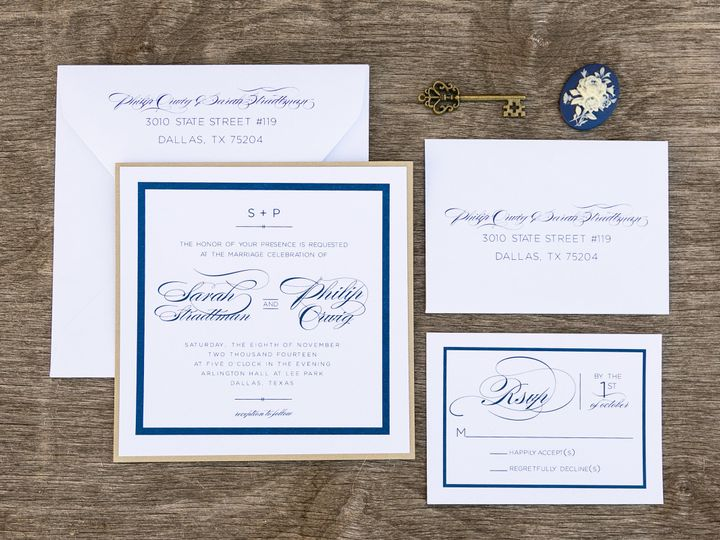 Tmx 1414098866959 Thebeeskneesstationary 0113 Dallas, Texas wedding invitation