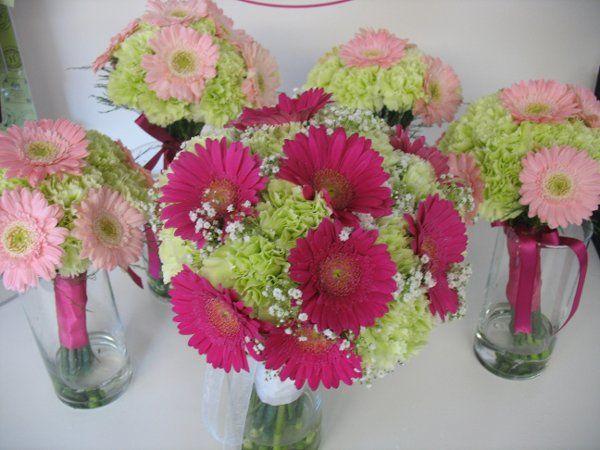 Bridal bouquet of green prado carnations and hot pink miniature gerbera daisies. Bridesmaids...