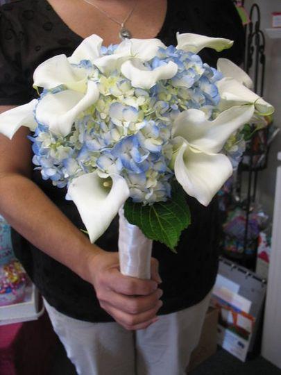 Bridal bouquet of blue hydrangea and white miniature calla lilies