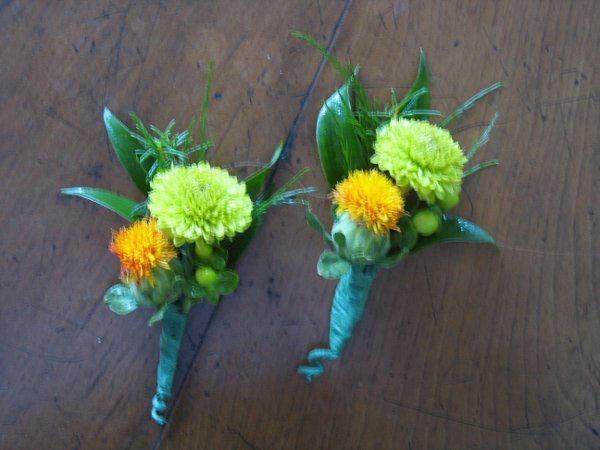 Boutonniere of safflower, green yoko ono mums and greens