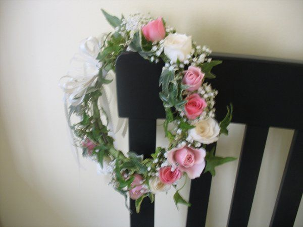Flower girl Halo of ivy, pink and ivory spray roses with babies breath