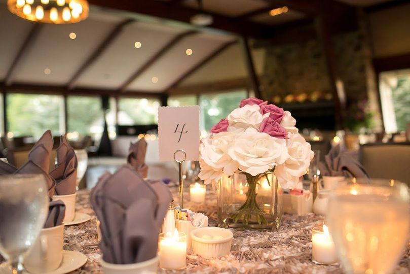 Table number and flower arrangement